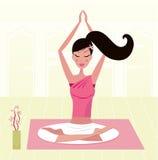 Meditating woman practicing yoga asana vector illustration
