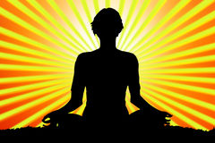 Meditating woman silhouette Royalty Free Stock Photos