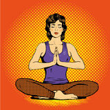 Meditating woman with speech bubble in retro pop art comic style. Mental balance and yoga concept Stock Photo