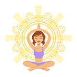 Meditating yogi girl in yoga lotus pose, colorful character vector Illustration. Isolated on a white background Royalty Free Stock Images
