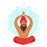 Meditating yogi man in yoga lotus pose, colorful character vector Illustration. Isolated on a white background Stock Images