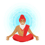 Meditating yogi man in yoga lotus pose, colorful character vector Illustration. Isolated on a white background Stock Photos