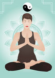 Meditating young pretty woman Royalty Free Stock Images