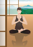 Meditating young pretty woman Royalty Free Stock Photo