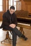 Meditatioin do pianoplayer fotografia de stock