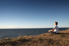Meditation. At the seashore