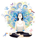 Meditation. Beauty and young woman meditating Stock Photos