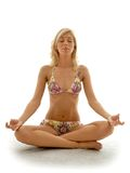 Meditation. Lovely blond in bikini meditating Stock Images