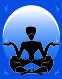 Meditation. The man meditates and hold stars in hands Stock Images
