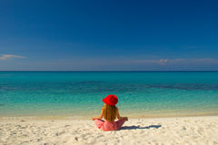 Meditation. On the beautiful Maldivian beach royalty free stock image