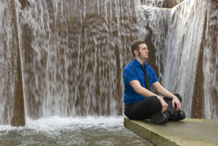 Meditation. A business man finding inner peace Stock Photo