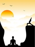 Meditation. People doing yoga on hills Royalty Free Stock Photography