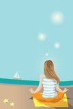 Meditation. Illustration of woman doing meditation/yoga by the sea Stock Photography