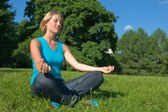 Meditation. The beautiful young woman meditates sitting on a grass Stock Photos
