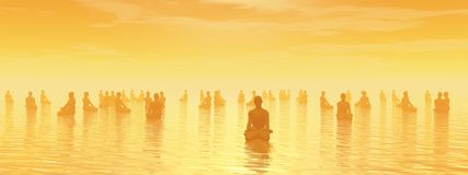 Meditation for all - 3D render Stock Photo