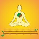 Meditation auf Bambusstöcken Lizenzfreies Stockbild