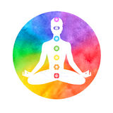 Meditation, aura and chakras. Watercolor illustration of meditation, aura and chakras Stock Images