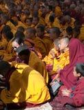 Meditation av tibetana buddistiska munkar under festival Royaltyfri Foto