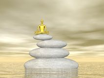 Meditation in balance - 3D render Stock Photography