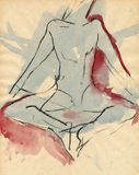 Meditation ballerina, drawing Royalty Free Stock Photos