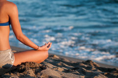 Meditation on beach Royalty Free Stock Image