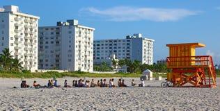 Meditation on the beach of Miami Stock Photo