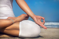 Meditation on the beach Royalty Free Stock Photo