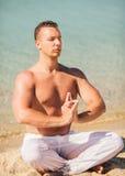 Meditation on the beach Royalty Free Stock Image