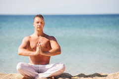 Meditation on the beach Royalty Free Stock Images