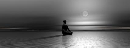 Meditation bis zum Nacht Lizenzfreies Stockbild