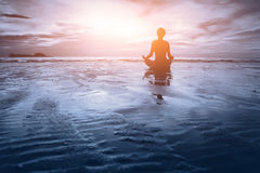 Meditation - blue tone Royalty Free Stock Photos