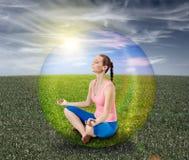 Meditation bubble. My girlfriend on meditation bubble stock photo