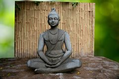 Meditation. Buddha in meditation with bamboo background Stock Photos
