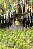 Meditation Buddha statue in garden. Under the Bodhi tree. Location Chiang Mai, Thailand stock photography