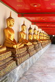 Meditation buddha statues in buddhist temple wat pho, bangkok Stock Photo