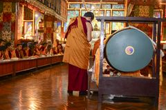 Meditation in the Buddhist monastery of the Great Stupa, the city of Kathmandu Nepal, December Stock Image