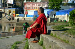 Meditation. Buddhist monk meditates on the sacred lake Revalsar, India Stock Photography