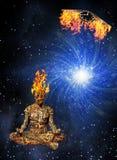 Meditation Burning. Meditation mind Burning with flaming winged clock Stock Images
