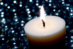 Meditation Candle Burning in New Age Zen Decor Royalty Free Stock Photos