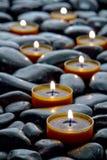 Meditation Candles Burning On Black Stone Zen Path Stock Photo