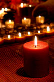 Meditation Candles Burning in Religious Ceremony stock photo