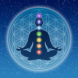 In meditation with chakras and flower of live Royalty Free Stock Images