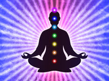 In meditation with chakras Royalty Free Stock Image