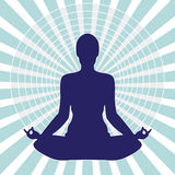 Meditation Into Circle. Pose Yoga Light Silhouette Isolated In The Circle Royalty Free Stock Images