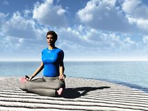 Meditation on cloudy beach Royalty Free Stock Images