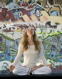 Meditation With Crystal Ball And Graffiti Stock Images