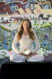 Meditation With Crystal Ball And Graffiti Stock Photo