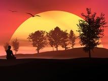Meditation in der Natur durch Sonnenuntergang lizenzfreie abbildung