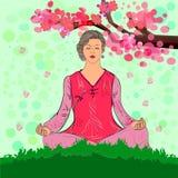 Meditation draußen Jahreszeit des Blühens einer orientalischen Kirsche Vektor Stockfoto