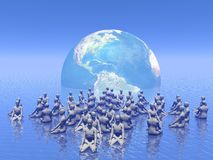 Meditation for earth - 3D render Stock Images